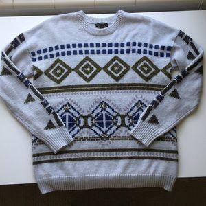 J. Crew Tribal Print Wool Blend Crew Neck Sweater